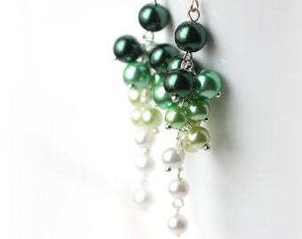 Ombre Green Bridesmaid Jewelry Pearl Cluster Long Earrings Gradient Color Transforming from Green to White, Summer Wedding
