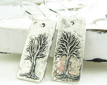 Quiet, Fine and Sterling Tree Earrings, Handmade Artisan Original by SilverWishes