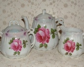 Vintage German Tea Set - Teapot, Sugar & Creamer - Palest Blue, Pink Rose