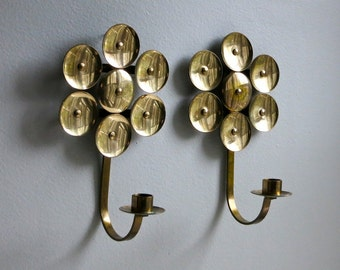 Pair of Vintage Swedish Modern Brass Candle Sconces - Kee Mora Sweden Mid Century Scandinavian Modern - Vintage Lighting