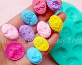 Silicone Mold Flexible Mold (Victorian Lady Flower Animal Cameo 10pcs) Fondant Gumpaste Cupcake Topper Resin Jewelry Scrapbooking MD031
