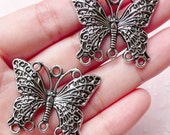 Butterfly Charms / Connectors (2pcs) (34mm x 28mm / Tibetan Silver) Metal Bookmark Pendant Bracelet Earrings Zipper Pulls Keychain CHM764