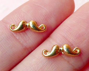 Tiny Mustache Cabochon (2pcs) (11mm x 4mm / GOLD) Fake Miniature Cupcake Topper Kawaii Nail Art Nail Decoration Scrapbooking NAC090
