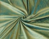 "Green Turquoise iridescent 100% dupioni silk fabric yardage By the Yard 45"" wide"