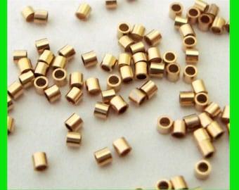 300pcs 1mm 14k yellow gold filled tiny micro crimp bead tube spacer GF02