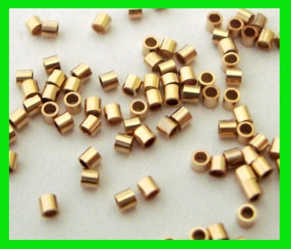 300pcs 1mm 14k yellow gold filled tiny micro crimp bead tube spacer GF02