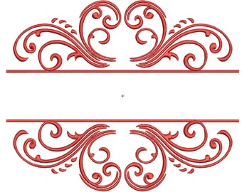 Split Machine Embroidery Monogram Frame - 3 Sizes - Instant Download