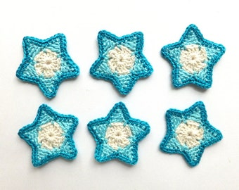 SALE -30% OFF Crochet stars applique - blue Christmas stars decorations - small gift wrapping ornaments - holiday ornaments - stars applique