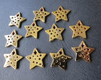 8pcs -Gold Star Charm Beads 17mm-  -G1067