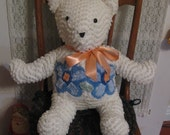 Teddy Bear 30 Inches Antique White Chenille Bedspread Handmade