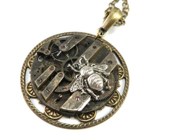 Steampunk Vintage Watch Movement Necklace - Silver Bee Accent -  Brass Steampunk Pendant , Steampunk Jewelry by Compass Rose Design