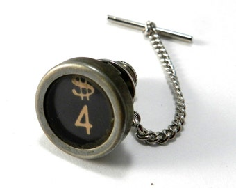 Antique TYPEWRITER Pin - Tie Pin - Lapel Pin, Number 4 DOLLAR SIGN Pin, Upcycled Steampunk by Compass Rose Design