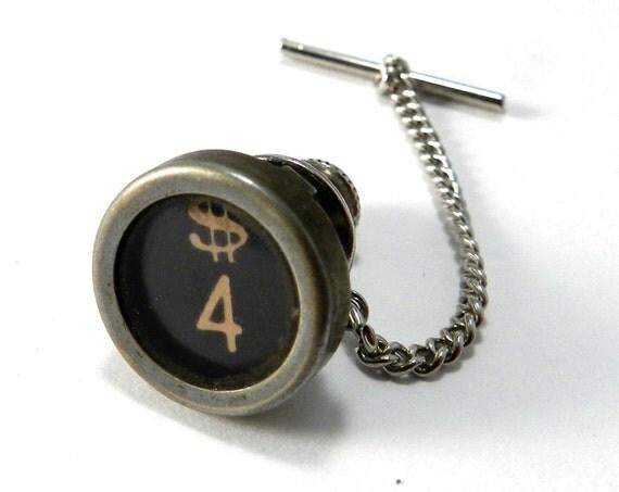 antique typewriter pin tie pin lapel pin number 4 dollar