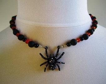 Spider Necklace Swarovski Crystal Beads Halloween Gothic Orange Black  - 17.5 inches