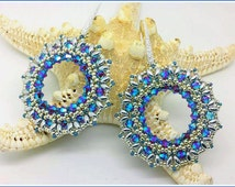 Earring tutorial DIY. Ray of Light earrings pdf file pattern with superduo, swarovski and seed beads.