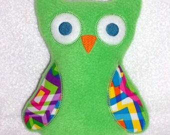 Handmade Stuffed Large Green Fleece Owl