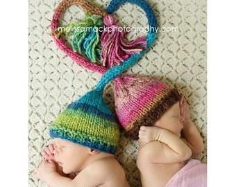 Twin Set Baby Elf Hat, Knit Newborn Elf Hats, Twin Baby Hats, Preemie - 12 Month, Newborn Photo Prop, Baby Photo Prop, Also Sold Separately