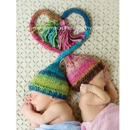 Baby Elf Knitting Pattern : Twin Set Baby Elf Hat Knit Newborn Elf Hats by ...