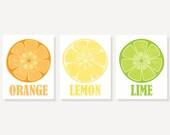 CANVAS ART: Set of 3 Kitchen Art Prints on Canvas // Citrus Orange Lemon Lime // Modern with Vintage Style