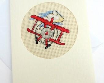 Boy's or Dad's Aeroplane Cross Stitch Card