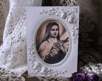 St Terese the little flower devotional, ivory, sepia, roses, Shabby and chic