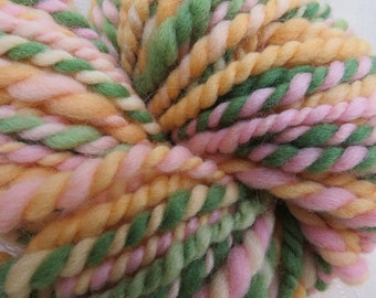 Hand spun Art yarn green orange pink hand dyed bulky knitting supplies crochet supplies Waldorf doll hair wool merino newborn baby photo pro