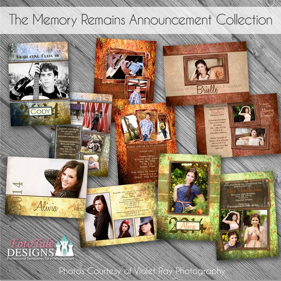 The Memory Remains Senior Graduation Announcement Collection- custom photo templates for phot