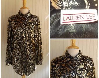1980s Long Sleeve Blouse by Lauren Lee, Metallic Leaf Swirl Print, Black and Golden, Size 2X, #45214
