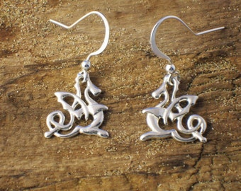 Silver Celtic Dragon Earrings, Welsh Dragon Earrings, Handmade silver, Art Nouveau Dragon Earrings, Fantasy Jewellery, Dragon Gifts.