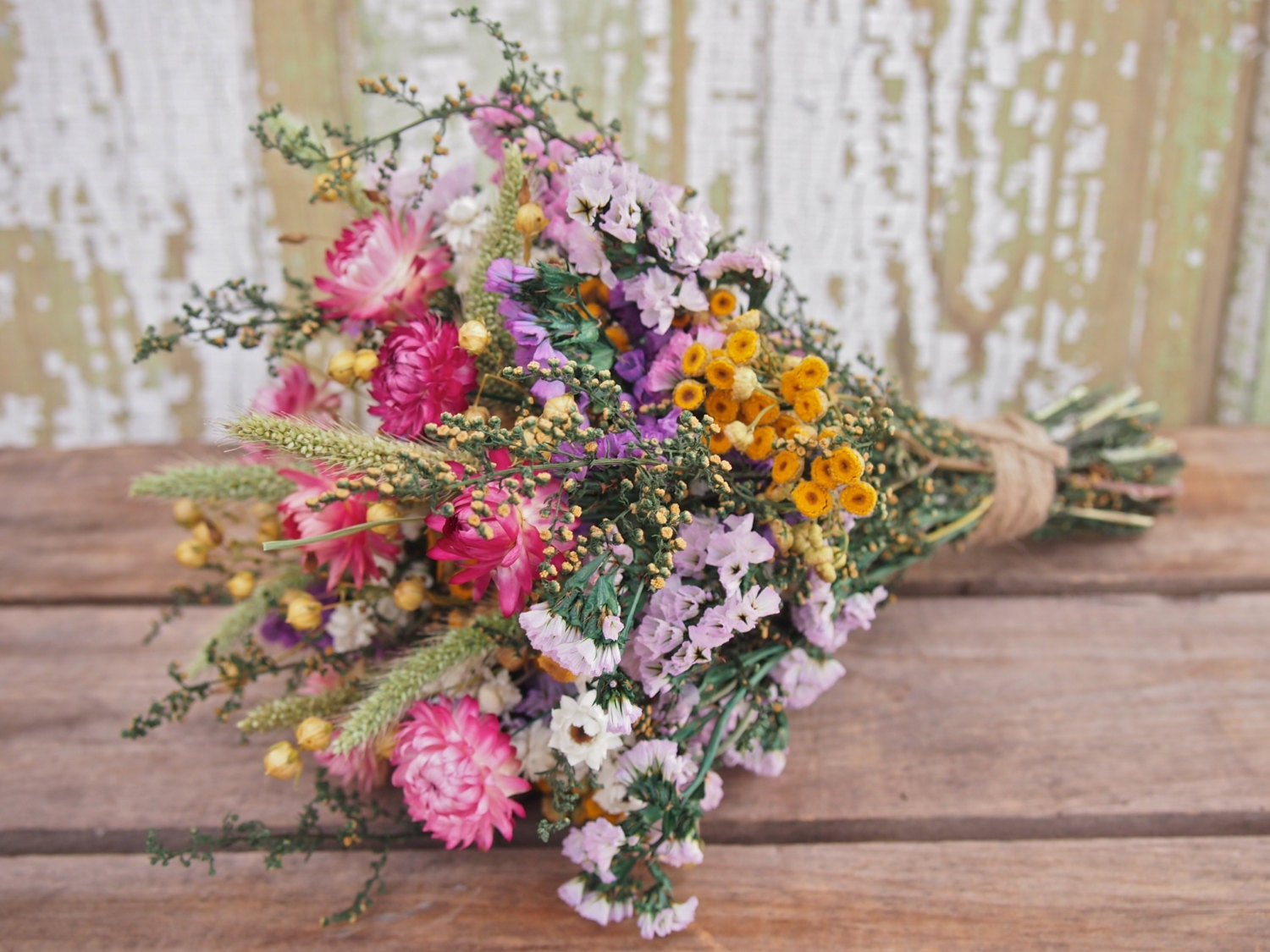 our field flower bridesmaid dried flower bouquet by