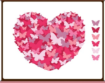 Butterfly Heart - Digital Clip Art - Pomegranate Pink - Instant Download