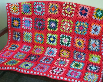 "Crochet Afghan Blanket 50"" x 50"" Large Red GRANNY SQUARES Retro"