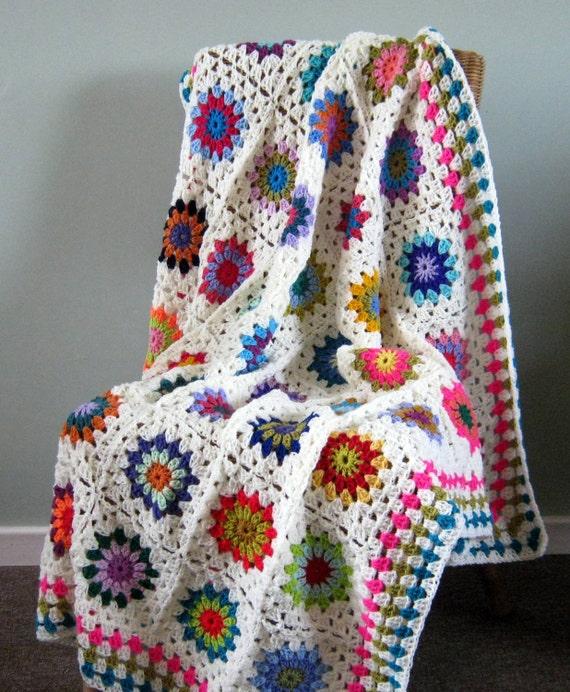 Flower Power BLANKET Sunburst Granny Squares Afghan 50 x 50