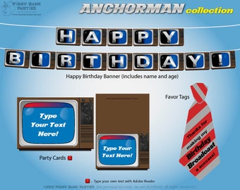 ANCHORMAN Collection - DIY Printable TV News Anchor Birthday Party Decorations // Television News Reporter Birthday Decor // Newscaster
