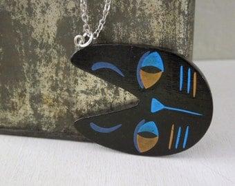 Black Cat Necklace - Wood Black Cat Face Pendant Necklace Silver Chain