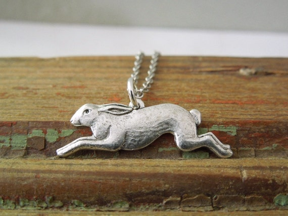 Rabbit Necklace - Antiqued Silver Bunny Charm Necklace Silver Chain