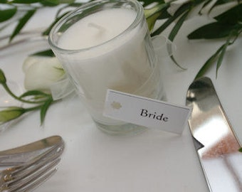 48 Scented wedding votive candles in glasses