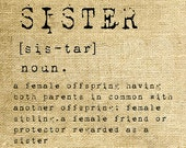 INSTANT DOWNLOAD - Sister Dictionary Definition - Download and Print - Image Transfer - Digital Collage Sheet by Room29 - Sheet no. 1171