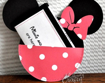 Custom Pink and White Polka Dot Minnie Mouse Birthday Invitations Handmade by Lisa