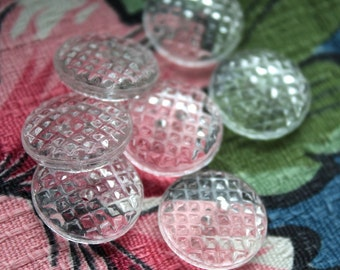 Small CLEAR Glass Vintage Two Hole Buttons -New Old Stock Buttons