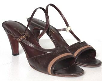 Vintage 1970s Heels // 60s 70s Brown Leather Sling Back Strappy Heels // DIVINE