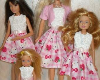 """Handmade 11.5"""" fashion doll clothes - 4 fashion doll sisters pink plaid  kitty dress set"""