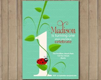 Ladybug 1st  Birthday Invitation, Printable ladybug Invitation, Ladybug, ladybird, 1st Birthday, Girl Birthday