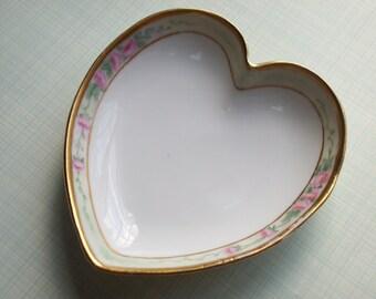 Vintage Welmar Porcelain Heart Roses Made in Germany