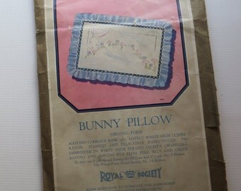 Vintage Embroidery Kit-Silk Nursery Pillow-Bunny-Tinted-Complete-Unused-1920's