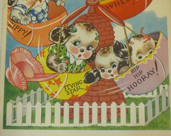 Vintage Ruth Newton Childrens Nursery Rhyme Book Print-Puppies Ride-Book Plate