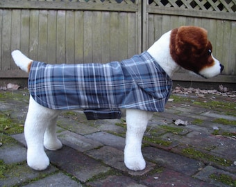 Grey and Blue Plaid and Dog Coat - Size Small - 12 to 14 Inch Back Length - Or Custom Size