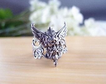 Mythical ring,Goddess ring,flower ring,aged brass,filigree ring,adjustable metal ring V004