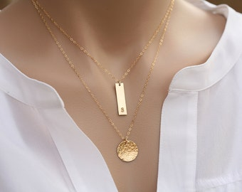 Initial necklace,Monogram jewelry,Personalized double layered hammered disc Bar necklace,Initial Rectangle necklace