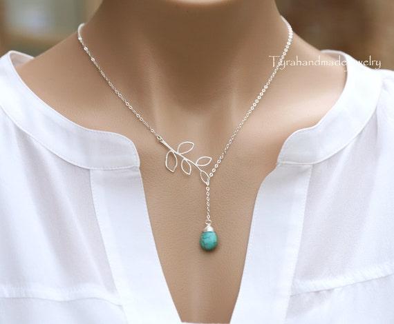 Personaized birthstone branch necklace,Custom birthstone,Lariat Y necklace,Bridesmaid gifts,Twig Leaf Branch,birthstone necklace,wedding